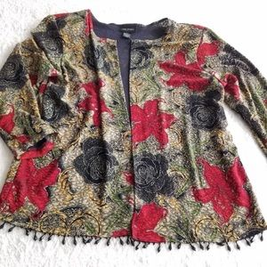 Lane Bryant size 18 gold red floral beaded shrug